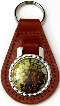 Clock Face Vintage Ship Brown Genuine Leather Key Fob FOB-0143