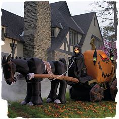 Would definitely make an impression in the neighborhood. Inflatable 15 Halloween Grim Reaper & Pumpkin Carriage