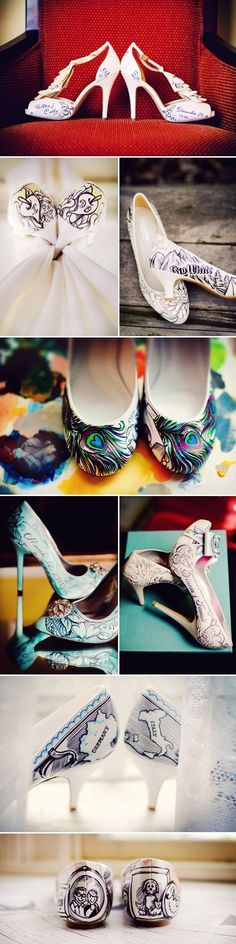 Absolutely adorable personalized wedding shoes! Super creative style created by Figgie Shoes #weddingshoes