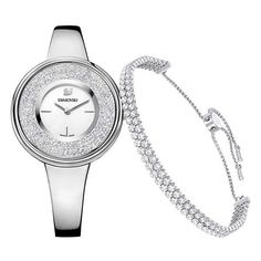 Crystalline Pure Set, White, Silver tone Watches (6.097.630 IDR) ❤ liked on Polyvore featuring jewelry, watches, white watches, glitter jewelry, stainless steel watches, stainless steel wrist watch and sparkly watches