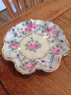 Antique Nippon Hand Painted Ruffled Dish With Pink Roses