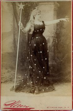 Lovely Keeper of the Stars. Late Victorian cabinet photo of woman dressed in star attire.