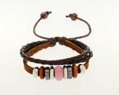 Bracelet - Pink Bead and Brown Braided Leather - Kiki's Pink Peace kikisjewels. $12.95