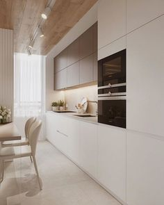 20 Inspiring Kitchen Cabinet Colors and Ideas That Will Blow You Away beige neutral kitchen wood plank panel ceiling design idea modern small condo ideas brown warm tone island shop room ideas Kitchen Room Design, Modern Kitchen Design, Dining Room Design, Interior Design Kitchen, Kitchen Decor, Kitchen Ideas, Kitchen Designs, Kitchen Hacks, Kitchen Inspiration