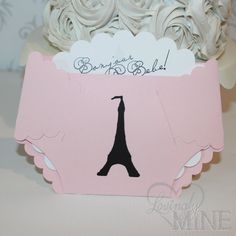 Paris Theme Diaper Invitations - Set of 6 - Parisian Baby Shower - Its A Girl - Pink and Black Eifel Tower on Etsy, $15.00