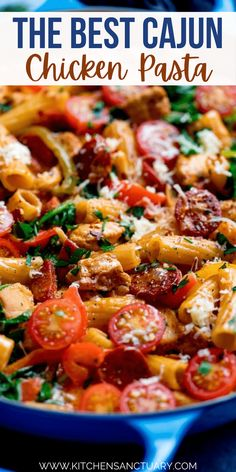 This Super Quick and easy Cajun chicken pasta one-pot is a winner for the family dinner table. All cooked in one pan and on the table in 35 minutes, it makes a great mid-week dinner. This Cajun Chicken pasta has piles of cajun chicken and chorizo all cooked together in a creamy tomato sauce. #Cajun #Pasta #Chicken #OnePot #CajunChicken #ChickenPasta Quick Pasta Recipes, Easy Chicken Dinner Recipes, Chicken Pasta Recipes, Healthy Dinner Recipes, Cooking Recipes, Easy Cajun Recipes, Pasta Meals, Duck Recipes, Free Recipes