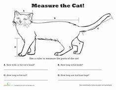 Second Grade Measurement Fractions Worksheets: Measure Length: Cat!