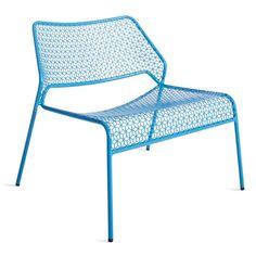 Hot Mesh Blue Metal Lounge Chair - Corner