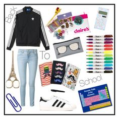"""#141 back to school"" by xjet1998x ❤ liked on Polyvore featuring adidas and Frame Denim"