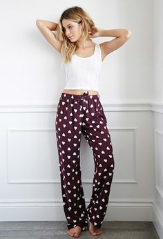 Forever 21 Heart Print PJ Pants | Burgundy/Ivory | PJ pants that are bound to tug at your heart strings, this breezy pair is outfitted with an adorably sweet heart print floating throughout and an uber-comfy elasticized drawstring waist. Trust us, you'll be living in these.