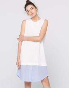 Oversized shirt dress with bottom panel - Dresses - Clothing - Woman - PULL&BEAR Singapore