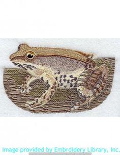 Stickmotiv Stickbild Aufnäher Stickerei Emblem Frosch  Frosch /  Stickerei Wood Frog (A1075)