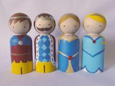 The Royal Family Peg Doll Set by PeggedByGrace on Etsy, $28.00