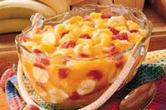 Sunshine Salad Recipe - use two cans of mandarin oranges but only reserve 1 can liquid for pudding mix. Also I'd use bigger bites of pineapple. I used SF lemon pudding and it was great. Jello Recipes, Ww Recipes, Salad Recipes, Dessert Recipes, Cooking Recipes, Healthy Recipes, Pudding Recipes, Family Recipes, Healthy Foods
