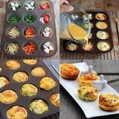Omelet Muffins Simply spray the muffin pan, add in your favorite omelet fixings and cover with egg beaters or egg whites. Bake at 350 for about 30 minutes. Options to try: spinach and feta, salsa and cheddar.chicken and hot sauce.tomatoes and peppers. Mini Quiches, Mini Pies, Mini Frittata, Mini Tortillas, Egg Muffins, Breakfast Muffins, Omelette Muffins, Mini Muffins, Breakfast Casserole