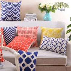 Vibrant Geometric... ONLY ON SALE HERE: http://www.rousetheroom.com/products/vibrant-geometric-pattern-throw-pillows-red-navy-yellow?utm_campaign=social_autopilot&utm_source=pin&utm_medium=pin