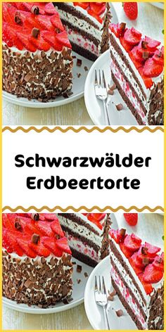Black forest strawberry cake Schwarzwälder Erdbeertorte Everyone knows them everyone bakes them everyone loves them. But here comes a new edition of the classic: The Black Forest strawberry cake! Wonderfully creamy and heavenly fine. Chiffon Cake, Delicious Cake Recipes, Yummy Cakes, Cupcakes, Easy Desserts, Dessert Recipes, Cheesecake, Plated Desserts, How To Cook Chicken