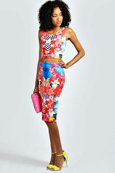 $50.00 Scarlett Tropical Print Crop Top & Midi Skirt Co-Ord Set - Bestie.com