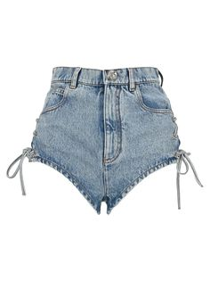 Shop Alessandra Rich Lace-up Denim Shorts and save up to EXPRESS international shipping! Cool Outfits, Fashion Outfits, Womens Fashion, Lace Shorts, Denim Shorts, Virtual Fashion, Kawaii Clothes, Cotton Lace, Jeans Style