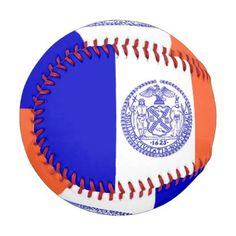 Patriotic baseball with flag of New York City - kids kid child gift idea diy personalize design
