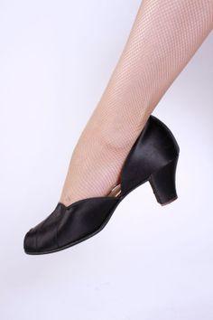 Vintage 1940s Slippers  Black Satin Daniel Green by FabGabs, $38.00