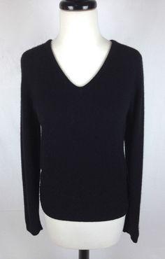 Glen Eagles Sweater Cashmere Womens Black Long Sleeve Scotland S #GlenEagles #VNeck