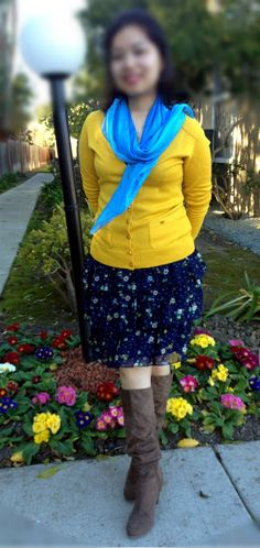 Mustard cardigan, floral skirt, suede boots
