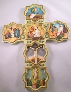 Cross Wall Hanging By Divine Inspiration Life of Christ Vintage 12 Inches High