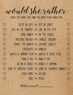Would she rather printable bridal shower game