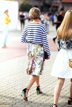 long sleeve striped tee, floral midid skirt & lucite heel sandals #style #fashion #streetstyle