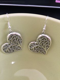 Antique Silver Dangle Heart Earrings  //  Filigree inspired  //  Alloy or Sterling Silver Ear Wires