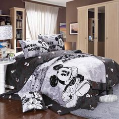 Amazon.com - Mickey and Minnie Mouse King Queen Adults Cartoon Bedding Set 4 Pcs Cotton Bed Sheet T4 Grey Linens Doona Duvet Cover and 2 Pillowcase -