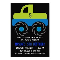Big Monster Truck Birthday Party Invitations  #SOLD on #Zazzle
