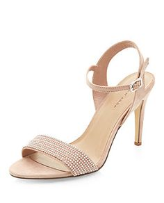 These Stone Pearl Embellished Ankle Strap Heels have just the right amount of decoration.
