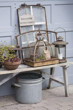 dk - My Garden Decor List Garden Whimsy, Garden Junk, Garden Art, Garden Design, Garden Front Of House, Potting Tables, Vintage Garden Decor, Terrace Garden, Garden Styles