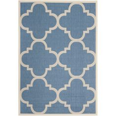 Suitable for a variety of uses, this blue-and-beige indoor/outdoor rug features a simple geometric pattern. Constructed of polypropylene, this rug is capable of handling the elements and is resistant to mildew, mold, sun, water, and more.