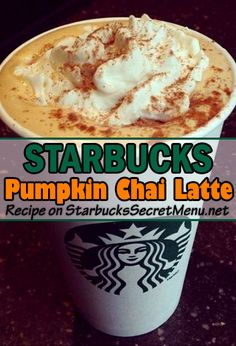 Spice up your Starbucks Chai Latte by adding pumpkin! Pumpkin Chai Latte Recipe, Starbucks Pumpkin Spice Latte, Pumpkin Recipes, Starbucks Coffee, Starbucks Order, Starbucks Secret Menu Drinks, Healthy Starbucks, Starbucks Recipes, Coffee Drink Recipes