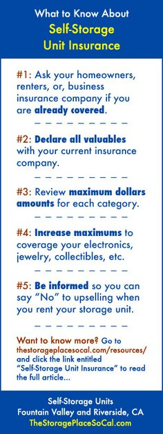 #TSPSelfStorageTip What to Know About Self-Storage Unit Insurance. Full article at http://thestorageplacesocal.com/resources/insurance/