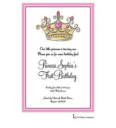 Princess Crown Invitation for girls princess party or baby shower
