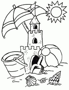 Summer Coloring Pages Kindergarten - Free Coloring Sheets Summer Coloring Sheets, Beach Coloring Pages, Coloring Pages To Print, Coloring Book Pages, Printable Coloring Pages, Coloring Pages For Kids, Coloring Sheets For Kindergarten, Kids Coloring, Summer Coloring Pictures