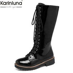 388ed6eac KARINLUNA 2018 Women Shoes Plus Size 34-43 ZIP UP Shoes Woman Cool Mid Calf