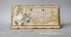 Pierwsza kartka bożonarodzeniowa, Music card with white flowers