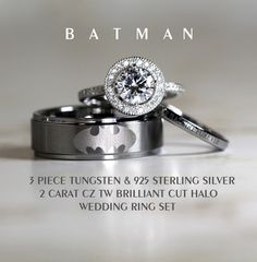BATMAN Tungsten and 925 Sterling Silver 2 CARAT CZ Wedding Ring 3Piece Set, 8mm Men's Ring by Cloud9Tungsten on Etsy https://www.etsy.com/listing/210329477/batman-tungsten-and-925-sterling-silver