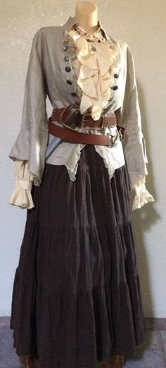 - Medium Women's Pirate Costume w Belts & Jewelry Included – Silk Blouse, Linen Jacket Medium Vintage Designer Women& Deluxe Steampunk Pirate Pirate Jacket, Pirate Dress, Pirate Clothes, Female Pirate Costume, Pirate Halloween Costumes, Diy Pirate Costume For Women, Female Costumes, Diy Halloween, Renaissance Pirate
