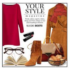 """Suede Boots"" by din-fashion ❤ liked on Polyvore featuring IRO, Prabal Gurung, Bobbi Brown Cosmetics, Pussycat, Sara Battaglia, Mikasa and Aquazzura"