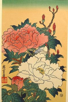 Japanese Ukiyo-e Woodblock print Hiroshige Peonies by UkiyoeSalon
