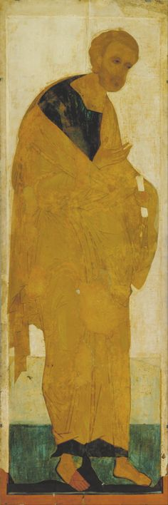 Andrei Rublev (1360/1370 - 1427/1430) – Icon painter (Russian) Dead in Russia, Moscow. Details of artist on Google Art Project Title Русский: Апостол Петр из деисусного чина St Peter. From Deisus Tier Object typeIcon painting DateCirca 1408 MediumTempera on wood English: Tempera on wood DimensionsHeight: 3,110 mm (122.44 in). Width: 1,040 mm (40.94 in). Current location State Russian Museum