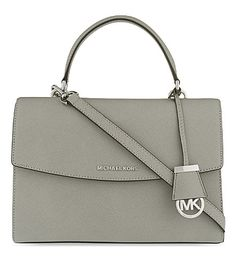 I am in love with this satchel. MICHAEL MICHAEL KORS Ava medium Saffiano leather satchel (Pearl grey) from Selfridges.