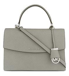 MICHAEL MICHAEL KORS Ava medium Saffiano leather satchel (Pearl grey
