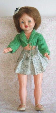 Antigua Muñeca española llamada Guendolina. El cuerpo es de los primeros plásticos y la cabeza de celuloide. Antique Spanish doll called Guendolina. The body is of the first plastic and celluloid head.